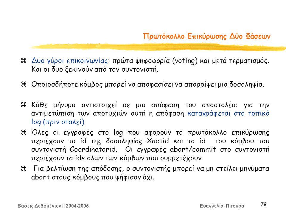 Βάσεις Δεδομένων II 2004-2005 Ευαγγελία Πιτουρά 79 Πρωτόκολλο Επικύρωσης Δύο Φάσεων zΔυο γύροι επικοινωνίας: πρώτα ψηφοφορία (voting) και μετά τερματισμός.