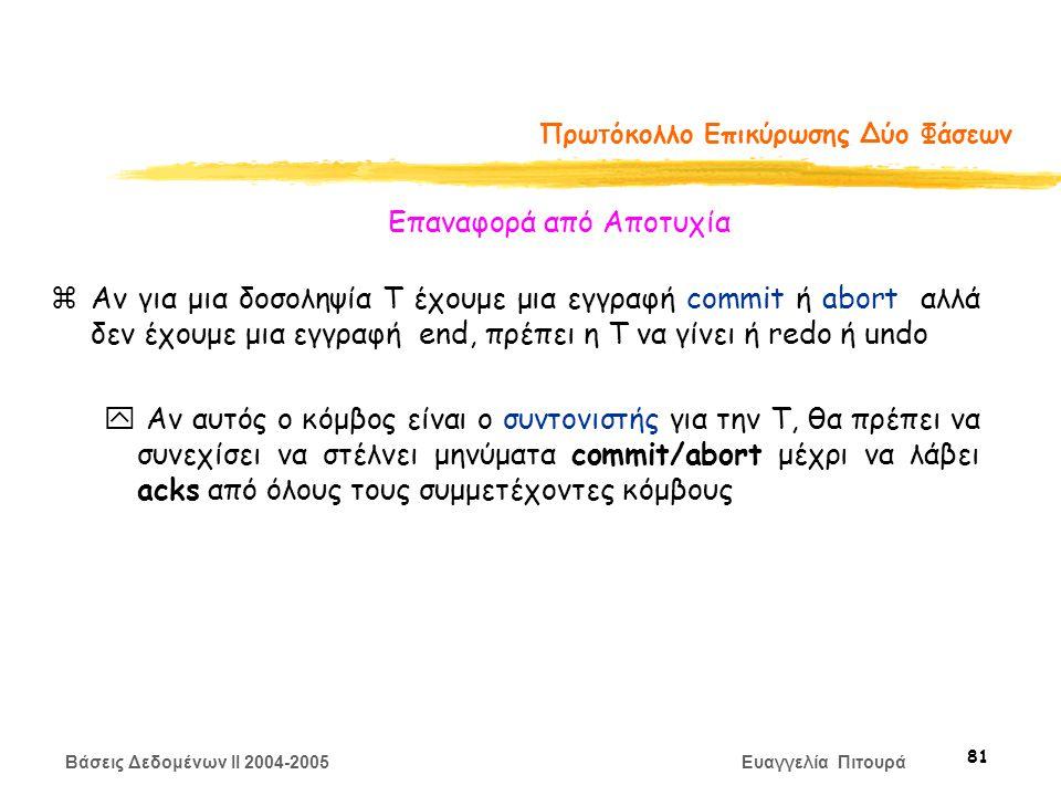 Βάσεις Δεδομένων II 2004-2005 Ευαγγελία Πιτουρά 81 Πρωτόκολλο Επικύρωσης Δύο Φάσεων zΑν για μια δοσοληψία Τ έχουμε μια εγγραφή commit ή abort αλλά δεν έχουμε μια εγγραφή end, πρέπει η Τ να γίνει ή redo ή undo y Αν αυτός ο κόμβος είναι ο συντονιστής για την T, θα πρέπει να συνεχίσει να στέλνει μηνύματα commit/abort μέχρι να λάβει acks από όλους τους συμμετέχοντες κόμβους Επαναφορά από Αποτυχία