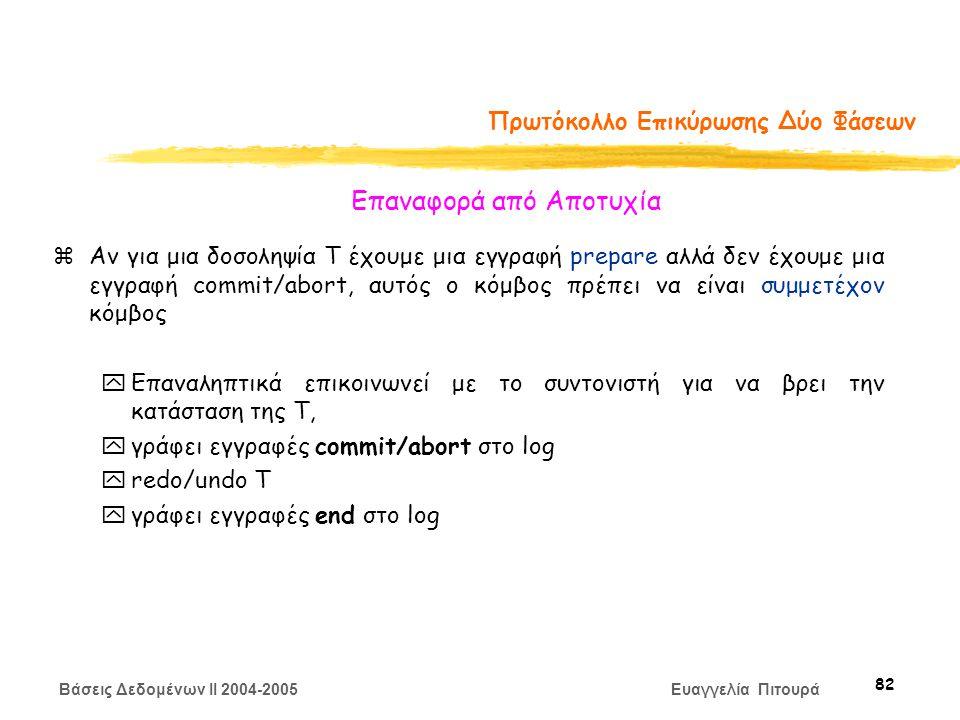 Βάσεις Δεδομένων II 2004-2005 Ευαγγελία Πιτουρά 82 Πρωτόκολλο Επικύρωσης Δύο Φάσεων zΑν για μια δοσοληψία Τ έχουμε μια εγγραφή prepare αλλά δεν έχουμε μια εγγραφή commit/abort, αυτός ο κόμβος πρέπει να είναι συμμετέχον κόμβος yΕπαναληπτικά επικοινωνεί με το συντονιστή για να βρει την κατάσταση της Τ, yγράφει εγγραφές commit/abort στο log yredo/undo T yγράφει εγγραφές end στο log Επαναφορά από Αποτυχία
