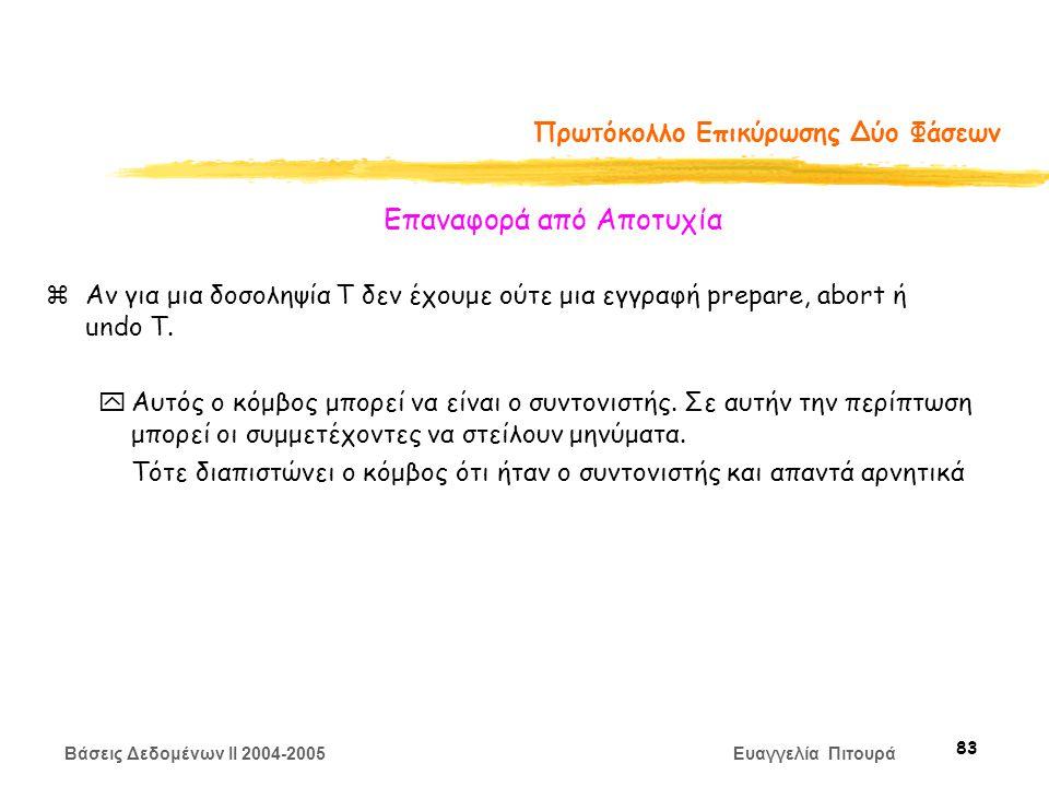 Βάσεις Δεδομένων II 2004-2005 Ευαγγελία Πιτουρά 83 Πρωτόκολλο Επικύρωσης Δύο Φάσεων zΑν για μια δοσοληψία Τ δεν έχουμε ούτε μια εγγραφή prepare, abort ή undo T.