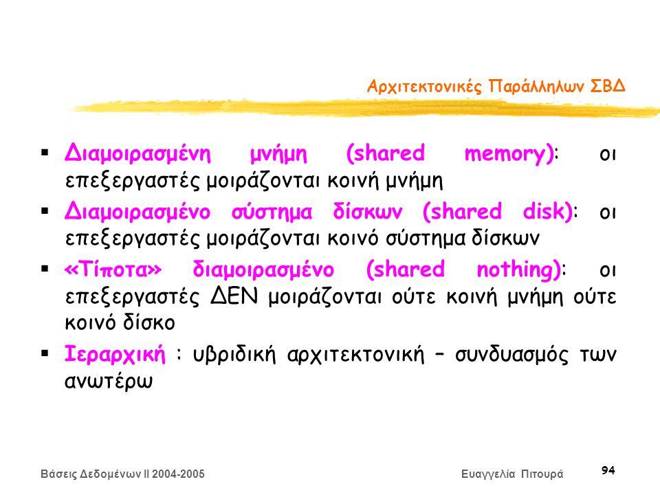 Βάσεις Δεδομένων II 2004-2005 Ευαγγελία Πιτουρά 94 Αρχιτεκτονικές Παράλληλων ΣΒΔ  Διαμοιρασμένη μνήμη (shared memory): οι επεξεργαστές μοιράζονται κοινή μνήμη  Διαμοιρασμένο σύστημα δίσκων (shared disk): οι επεξεργαστές μοιράζονται κοινό σύστημα δίσκων  «Τίποτα» διαμοιρασμένο (shared nothing): οι επεξεργαστές ΔΕΝ μοιράζονται ούτε κοινή μνήμη ούτε κοινό δίσκο  Ιεραρχική : υβριδική αρχιτεκτονική – συνδυασμός των ανωτέρω