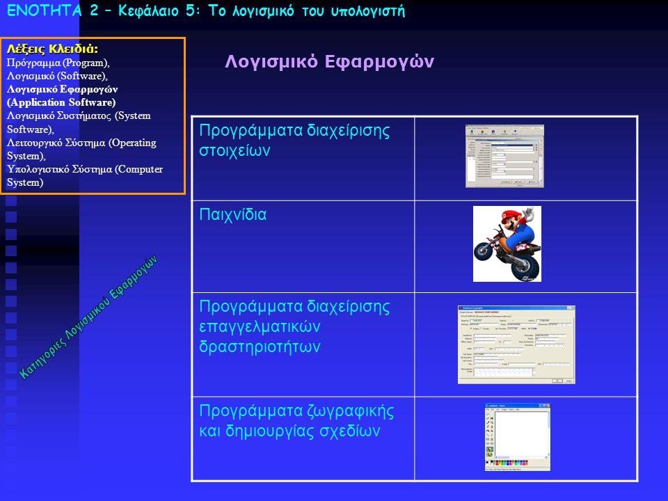 ΕΝΟΤΗΤΑ 2 – Κεφάλαιο 5: To λογισμικό του υπολογιστή Λέξεις Κλειδιά: Πρόγραμμα (Program), Λογισμικό (Software), Λογισμικό Εφαρμογών (Application Softwa