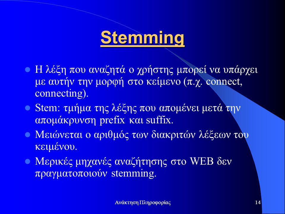 Ανάκτηση Πληροφορίας14 Stemming Η λέξη που αναζητά ο χρήστης μπορεί να υπάρχει με αυτήν την μορφή στο κείμενο (π.χ. connect, connecting). Stem: τμήμα