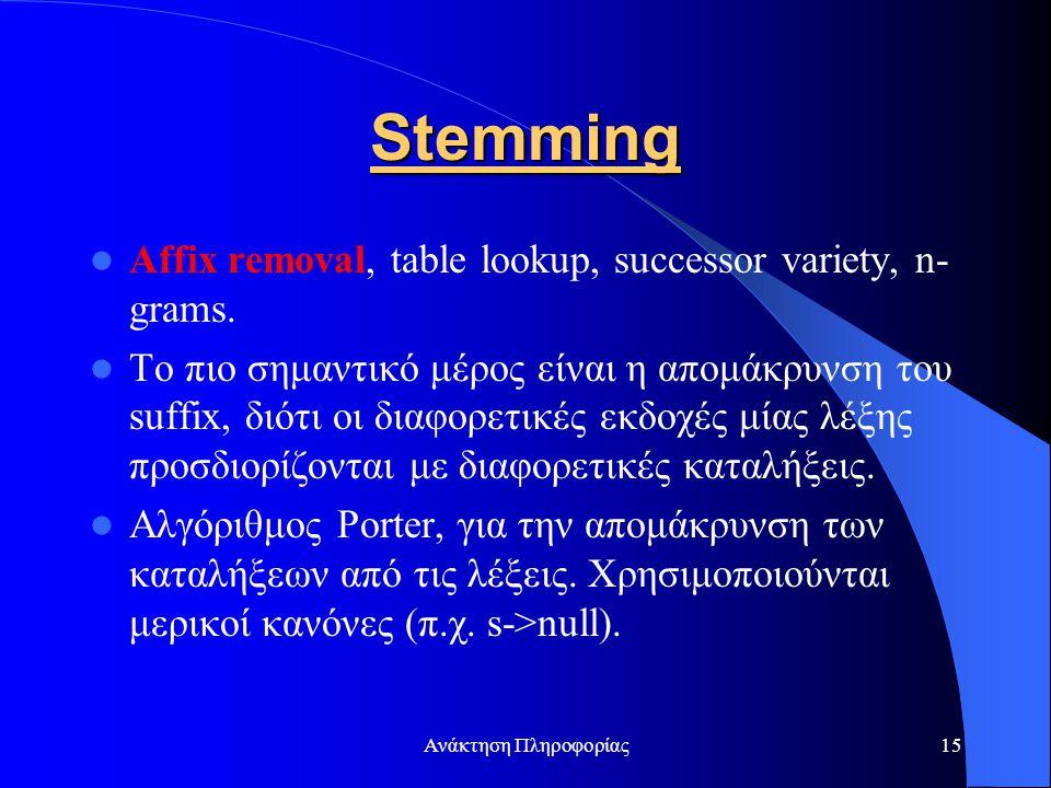 Ανάκτηση Πληροφορίας15 Stemming Affix removal, table lookup, successor variety, n- grams. Το πιο σημαντικό μέρος είναι η απομάκρυνση του suffix, διότι