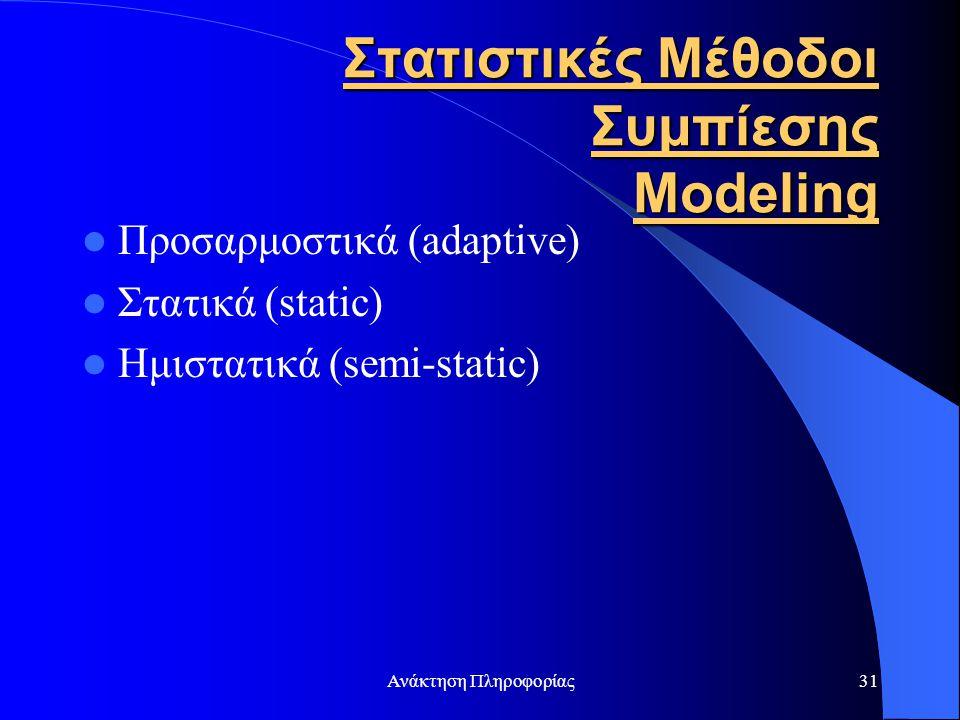 Ανάκτηση Πληροφορίας31 Στατιστικές Μέθοδοι Συμπίεσης Modeling Προσαρμοστικά (adaptive) Στατικά (static) Ημιστατικά (semi-static)