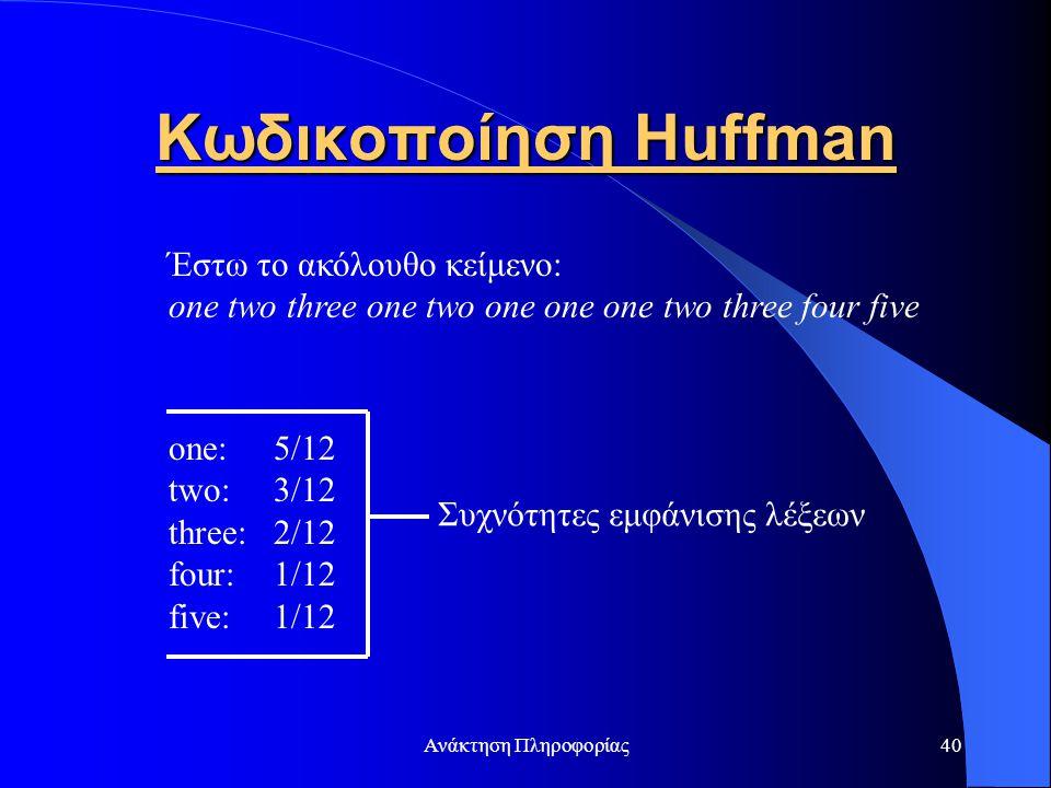 Ανάκτηση Πληροφορίας40 Κωδικοποίηση Huffman Έστω το ακόλουθο κείμενο: one two three one two one one one two three four five one: 5/12 two: 3/12 three: