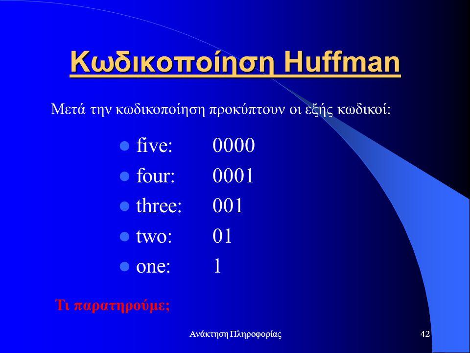 Ανάκτηση Πληροφορίας42 Κωδικοποίηση Huffman five: 0000 four: 0001 three: 001 two: 01 one: 1 Μετά την κωδικοποίηση προκύπτουν οι εξής κωδικοί: Τι παρατ