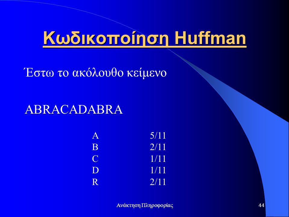 Ανάκτηση Πληροφορίας44 Κωδικοποίηση Huffman Έστω το ακόλουθο κείμενο ABRACADABRA A5/11 B2/11 C1/11 D1/11 R2/11