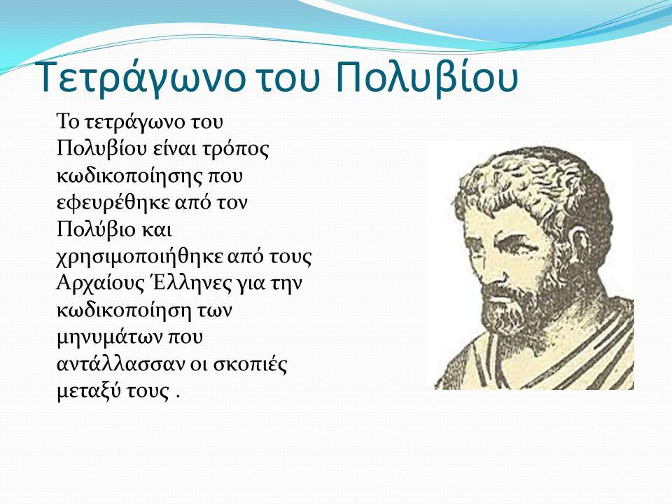 Τετράγωνο του Πολυβίου Το τετράγωνο του Πολυβίου είναι τρόπος κωδικοποίησης που εφευρέθηκε από τον Πολύβιο και χρησιμοποιήθηκε από τους Αρχαίους Έλλην