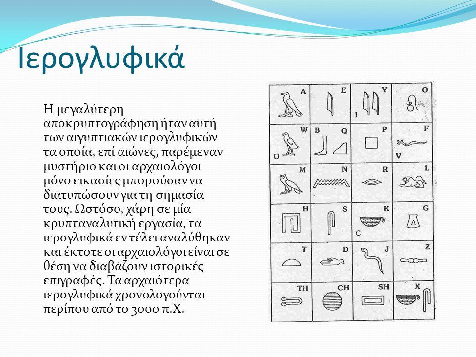 Ιερογλυφικά Η μεγαλύτερη αποκρυπτογράφηση ήταν αυτή των αιγυπτιακών ιερογλυφικών τα οποία, επί αιώνες, παρέμεναν μυστήριο και οι αρχαιολόγοι μόνο εικα