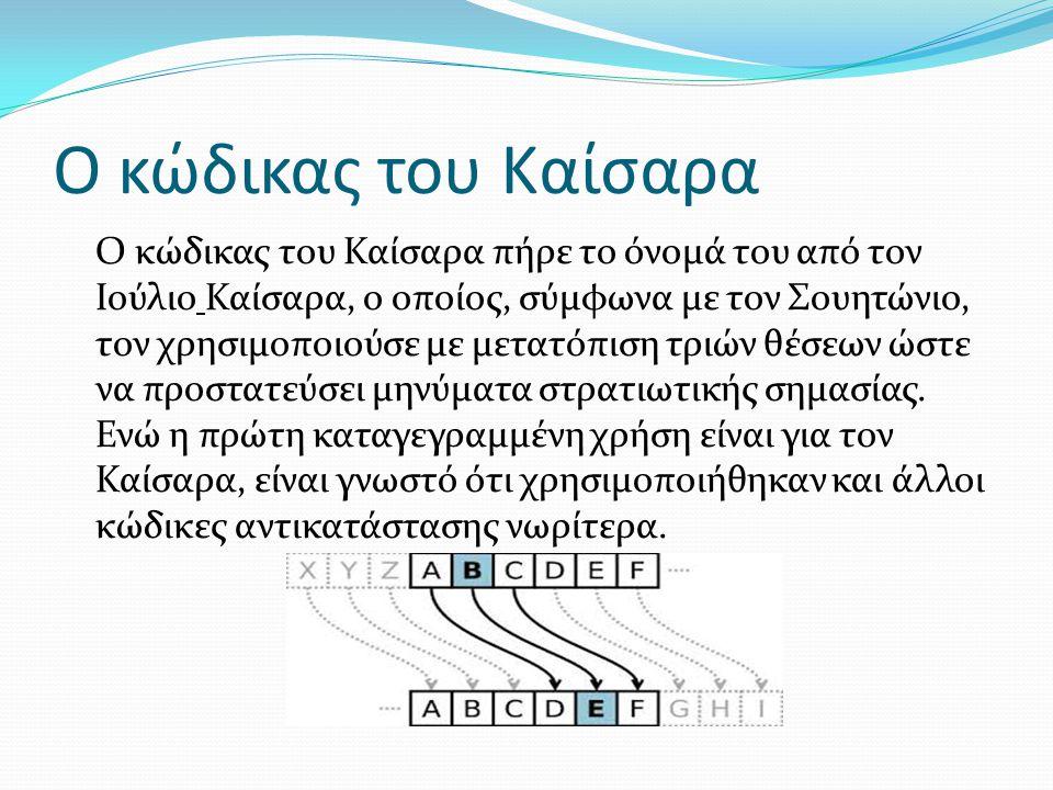 Ο κώδικας του Καίσαρα Ο κώδικας του Καίσαρα πήρε το όνομά του από τον Ιούλιο Καίσαρα, ο οποίος, σύμφωνα με τον Σουητώνιο, τον χρησιμοποιούσε με μετατό