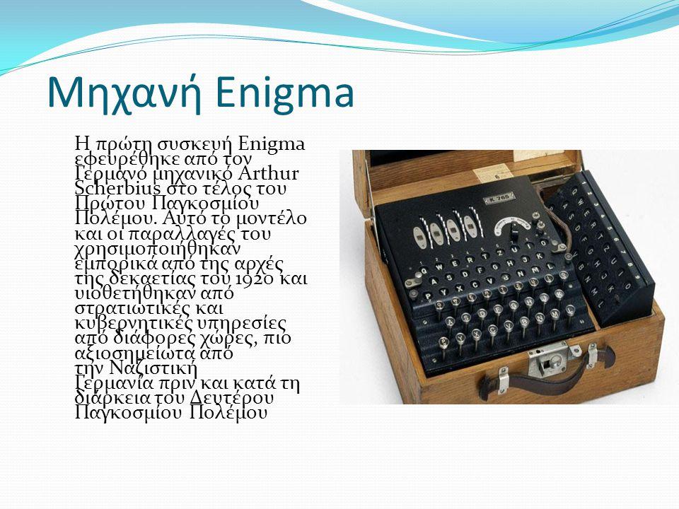 Μηχανή Enigma Η πρώτη συσκευή Enigma εφευρέθηκε από τον Γερμανό μηχανικό Arthur Scherbius στο τέλος του Πρώτου Παγκοσμίου Πολέμου. Αυτό το μοντέλο και