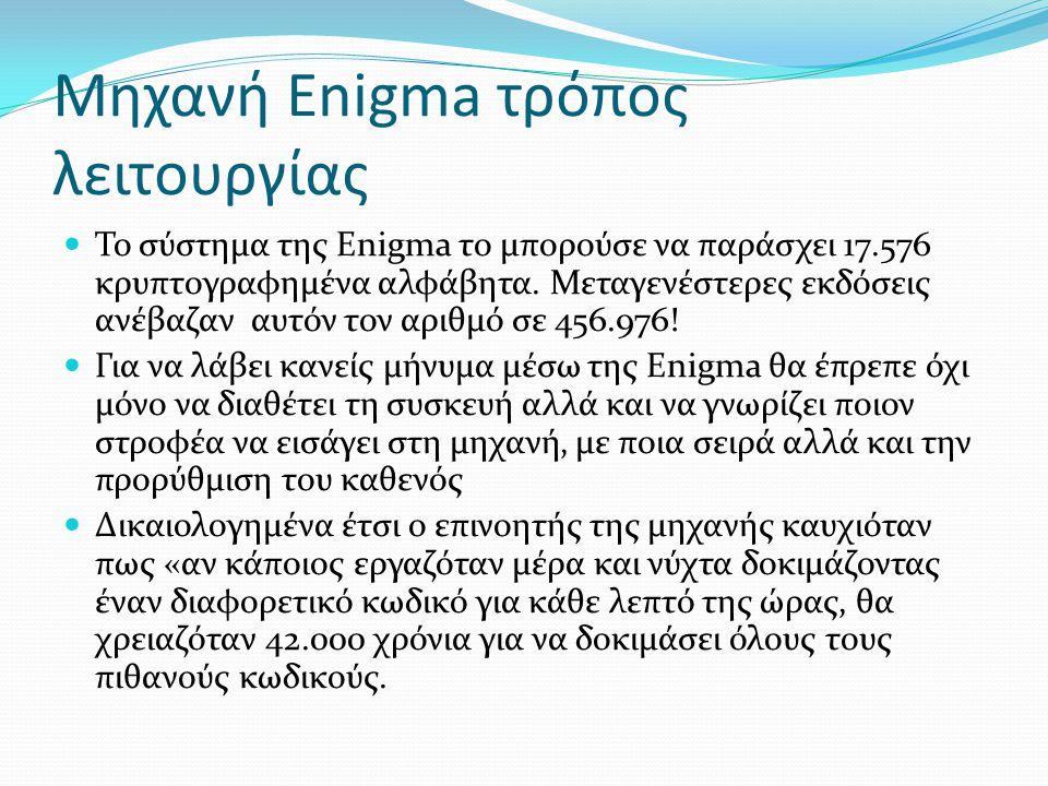 Μηχανή Enigma τρόπος λειτουργίας Το σύστημα της Enigma το μπορούσε να παράσχει 17.576 κρυπτογραφημένα αλφάβητα. Μεταγενέστερες εκδόσεις ανέβαζαν αυτόν