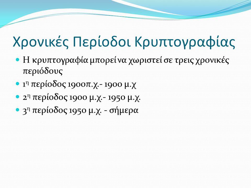Χρονικές Περίοδοι Κρυπτογραφίας Η κρυπτογραφία μπορεί να χωριστεί σε τρεις χρονικές περιόδους 1 η περίοδος 1900π.χ.- 1900 μ.χ 2 η περίοδος 1900 μ.χ.-
