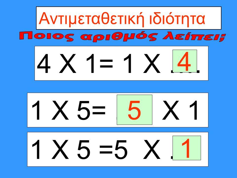 4 Χ 1= 1 Χ Αντιμεταθετική ιδιότητα 4