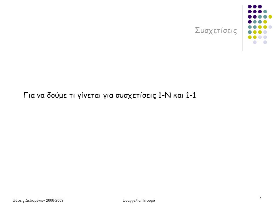 Βάσεις Δεδομένων 2008-2009Ευαγγελία Πιτουρά 8 Συσχετίσεις 1-Ν 1-Ν δυαδική συσχέτιση Για κάθε 1-Ν δυαδική συσχέτιση R μεταξύ δύο τύπων οντοτήτων του διαγράμματος Ο/Σ που αντιστοιχούν στις σχέσεις Τ και S 1.