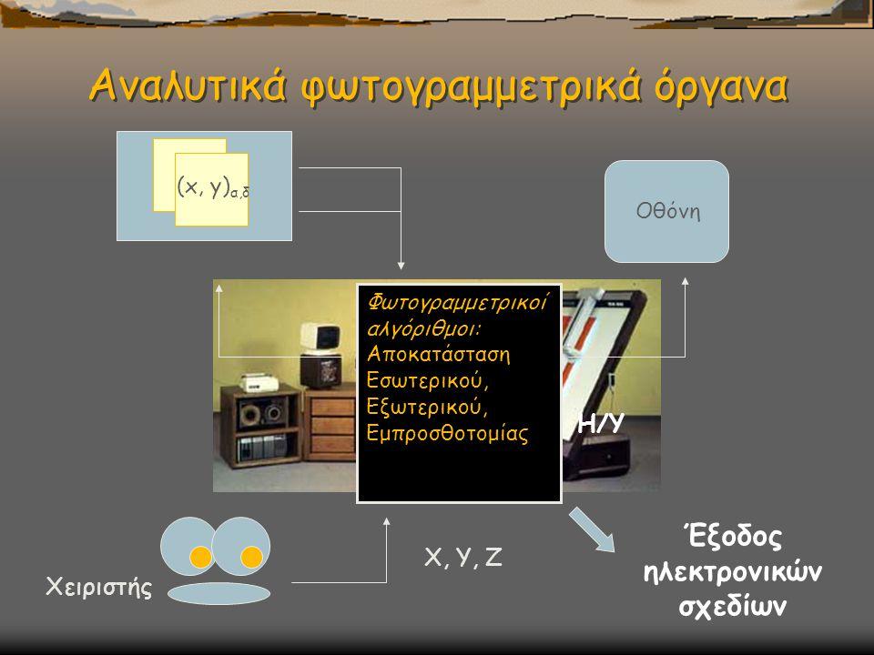 Αναλυτικά φωτογραμμετρικά όργανα Φωτογραμμετρικοί αλγόριθμοι: Αποκατάσταση Εσωτερικού, Εξωτερικού, Εμπροσθοτομία ς Η/Υ Οθόνη (x, y) α,δ Χειριστής Χ, Υ, Ζ Έξοδος ηλεκτρονικών σχεδίων