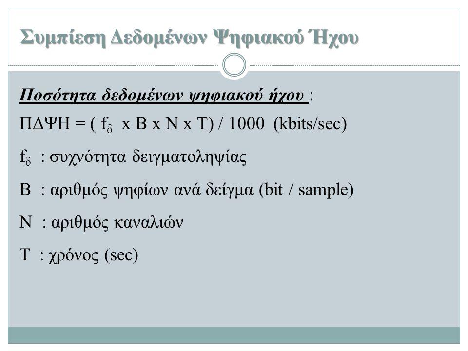 Συμπίεση Δεδομένων Ψηφιακού Ήχου Ποσότητα δεδομένων ψηφιακού ήχου : ΠΔΨΗ = ( f δ x B x N x T) / 1000 (kbits/sec) f δ : συχνότητα δειγματοληψίας Β : αρ