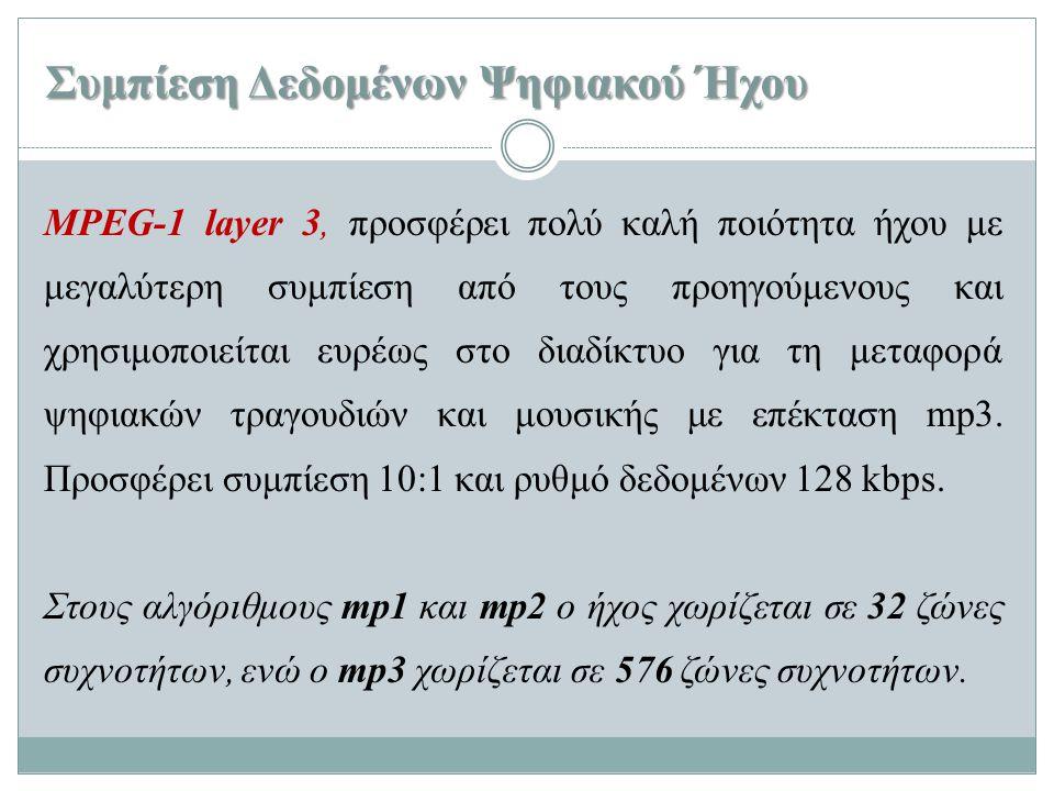 Συμπίεση Δεδομένων Ψηφιακού Ήχου MPEG-1 layer 3, προσφέρει πολύ καλή ποιότητα ήχου με μεγαλύτερη συμπίεση από τους προηγούμενους και χρησιμοποιείται ε