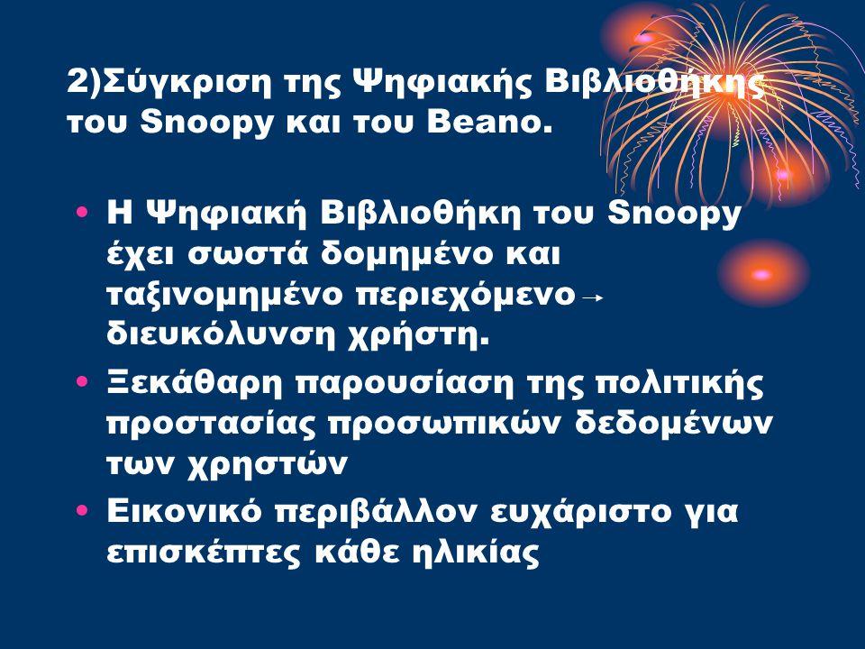 2)Σύγκριση της Ψηφιακής Βιβλιοθήκης του Snoopy και του Beano.