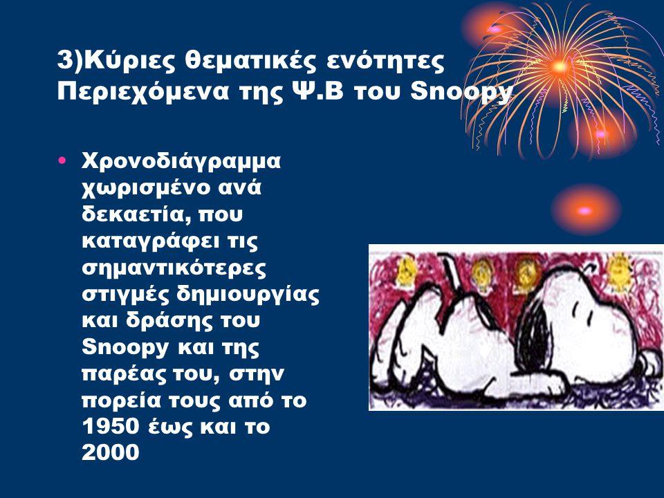 3)Κύριες θεματικές ενότητες Περιεχόμενα της Ψ.Β του Snoopy Χρονοδιάγραμμα χωρισμένο ανά δεκαετία, που καταγράφει τις σημαντικότερες στιγμές δημιουργίας και δράσης του Snoopy και της παρέας του, στην πορεία τους από το 1950 έως και το 2000
