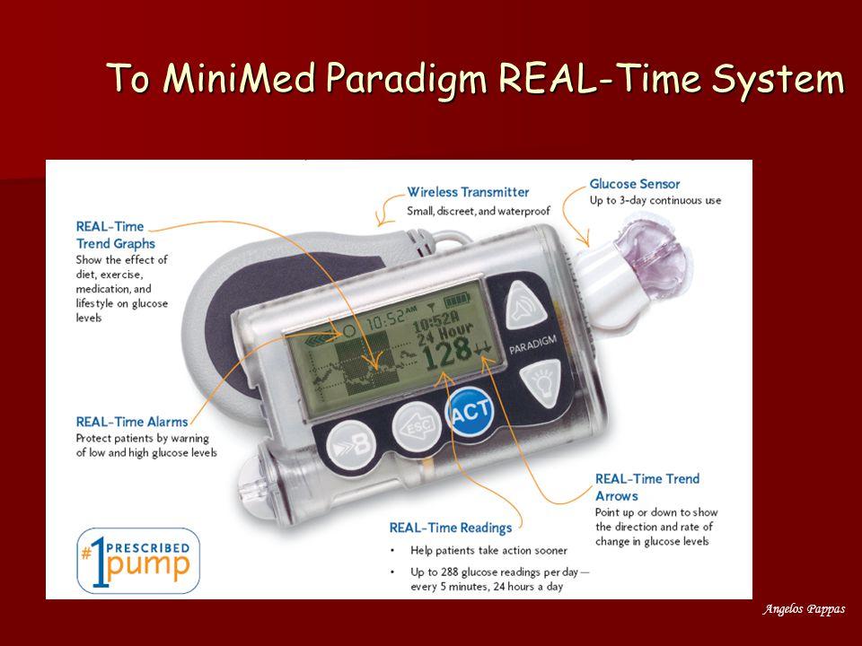 Angelos Pappas Συμπέρασμα Η συνεχής Χρήση του RT CGM (Guardian) αποτελεί χρήσιμο εργαλείο για καλύτερη μεταβολική ρύθμιση σε ΣΔ τύπου 1 Η συνεχής Χρήση του RT CGM (Guardian) αποτελεί χρήσιμο εργαλείο για καλύτερη μεταβολική ρύθμιση σε ΣΔ τύπου 1 –Σε εντατικό σχήμα ινσουλίνης (μετά 1 μήνα) και –Σε αντλία ινσουλίνης Η πρόσθετη χρήση της αντλίας οδηγεί σε: Η πρόσθετη χρήση της αντλίας οδηγεί σε: –Μείωση της ημερήσιας δόσης ινσουλίνης –Λιγότερες υπεργλυκαιμικές εκτροπές –Αυξημένο αριθμό εφάπαξ χορηγήσεων