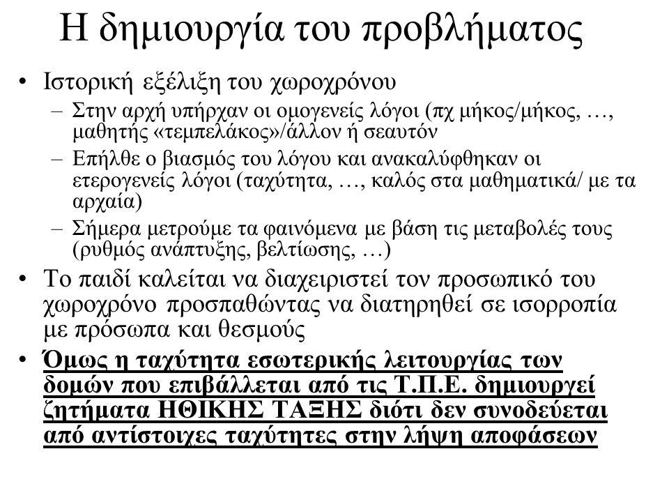 Η δημιουργία του προβλήματος Ιστορική εξέλιξη του χωροχρόνου –Στην αρχή υπήρχαν οι ομογενείς λόγοι (πχ μήκος/μήκος, …, μαθητής «τεμπελάκος»/άλλον ή σεαυτόν –Επήλθε ο βιασμός του λόγου και ανακαλύφθηκαν οι ετερογενείς λόγοι (ταχύτητα, …, καλός στα μαθηματικά/ με τα αρχαία) –Σήμερα μετρούμε τα φαινόμενα με βάση τις μεταβολές τους (ρυθμός ανάπτυξης, βελτίωσης, …) Το παιδί καλείται να διαχειριστεί τον προσωπικό του χωροχρόνο προσπαθώντας να διατηρηθεί σε ισορροπία με πρόσωπα και θεσμούς Όμως η ταχύτητα εσωτερικής λειτουργίας των δομών που επιβάλλεται από τις Τ.Π.Ε.