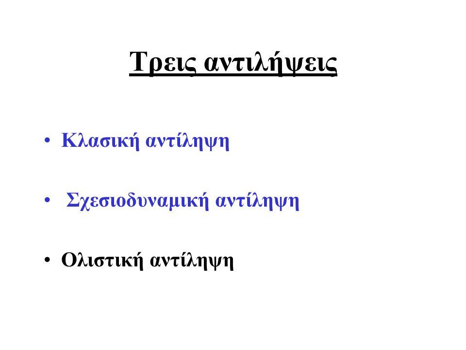 Τρεις αντιλήψεις Κλασική αντίληψη Σχεσιοδυναμική αντίληψη Ολιστική αντίληψη