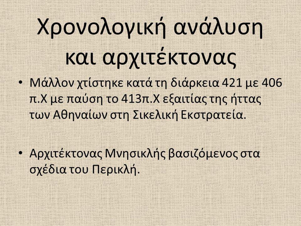 Χρονολογική ανάλυση και αρχιτέκτονας Μάλλον χτίστηκε κατά τη διάρκεια 421 με 406 π.Χ με παύση το 413π.Χ εξαιτίας της ήττας των Αθηναίων στη Σικελική Ε
