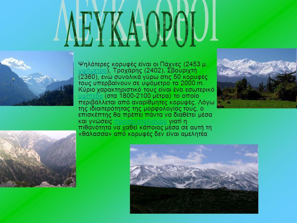 Ψηλότερες κορυφές είναι οι Πάχνες (2453 μ. υψόμετρο), Τροχάρης (2402), Σβουριχτή (2360), ενώ συνολικά γύρω στις 50 κορυφές τους υπερβαίνουν σε υψόμετρ