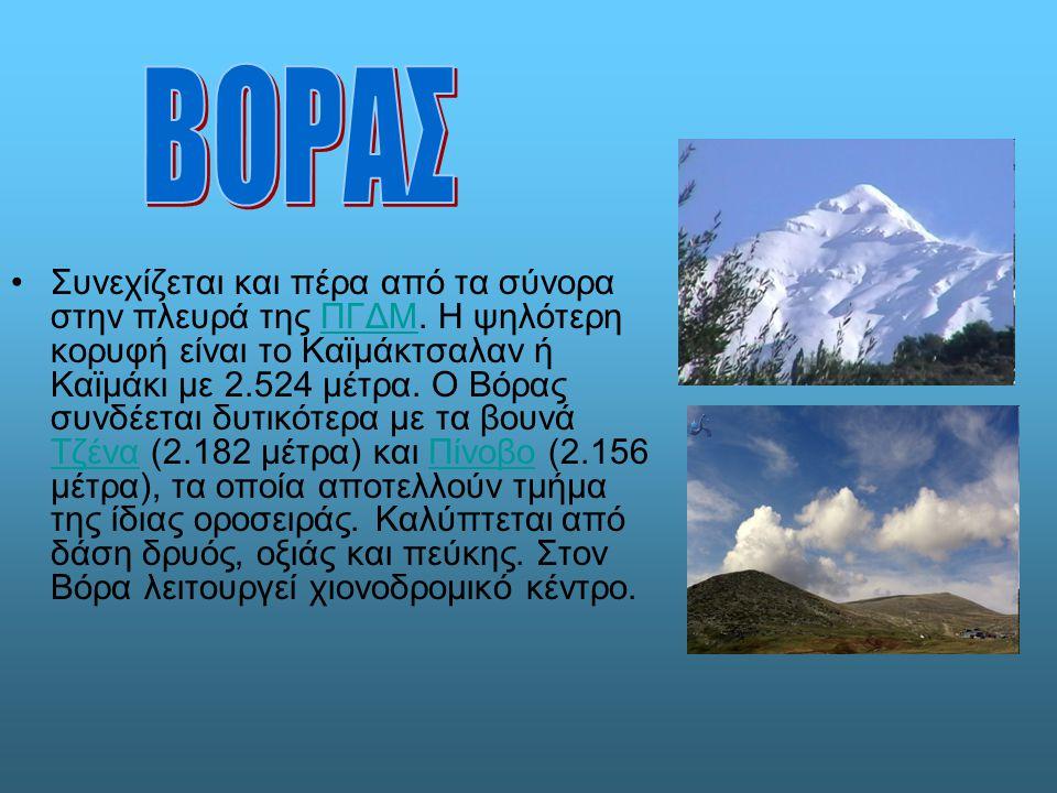 Συνεχίζεται και πέρα από τα σύνορα στην πλευρά της ΠΓΔΜ. Η ψηλότερη κορυφή είναι το Καϊμάκτσαλαν ή Καϊμάκι με 2.524 μέτρα. Ο Βόρας συνδέεται δυτικότερ