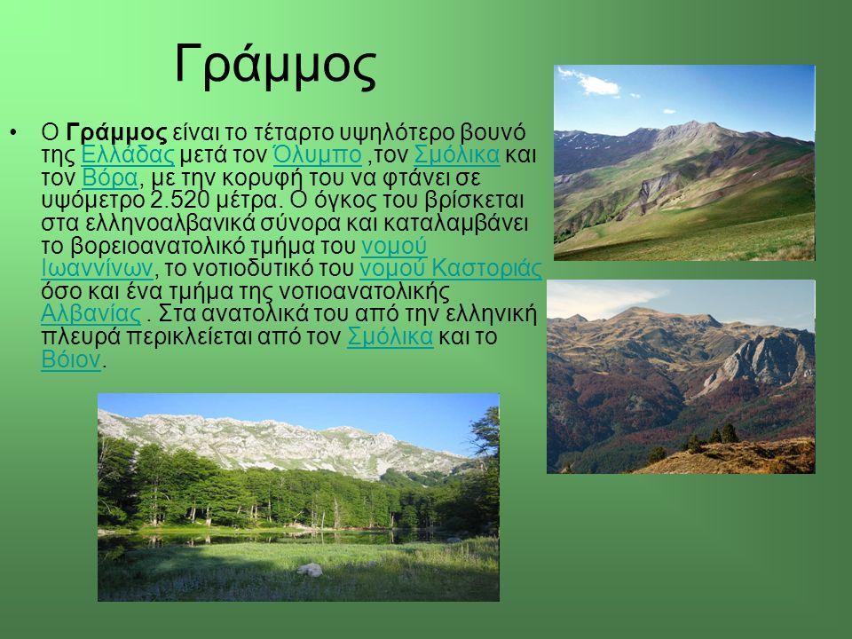 Γράμμος Ο Γράμμος είναι το τέταρτο υψηλότερο βουνό της Ελλάδας μετά τον Όλυμπο,τον Σμόλικα και τον Βόρα, με την κορυφή του να φτάνει σε υψόμετρο 2.520