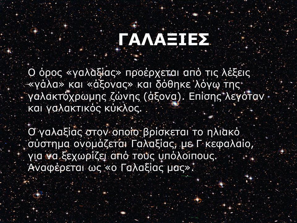 Ο όρος «γαλαξίας» προέρχεται από τις λέξεις «γάλα» και «άξονας» και δόθηκε λόγω της γαλακτόχρωμης ζώνης (άξονα). Επίσης λεγόταν και γαλακτικός κύκλος.