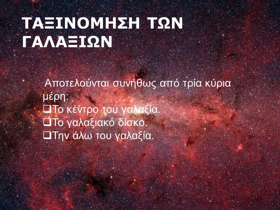 ΤΑΞΙΝΟΜΗΣΗ ΤΩΝ ΓΑΛΑΞΙΩΝ Αποτελούνται συνήθως από τρία κύρια μέρη:  Το κέντρο του γαλαξία.  Το γαλαξιακό δίσκο.  Την άλω του γαλαξία.