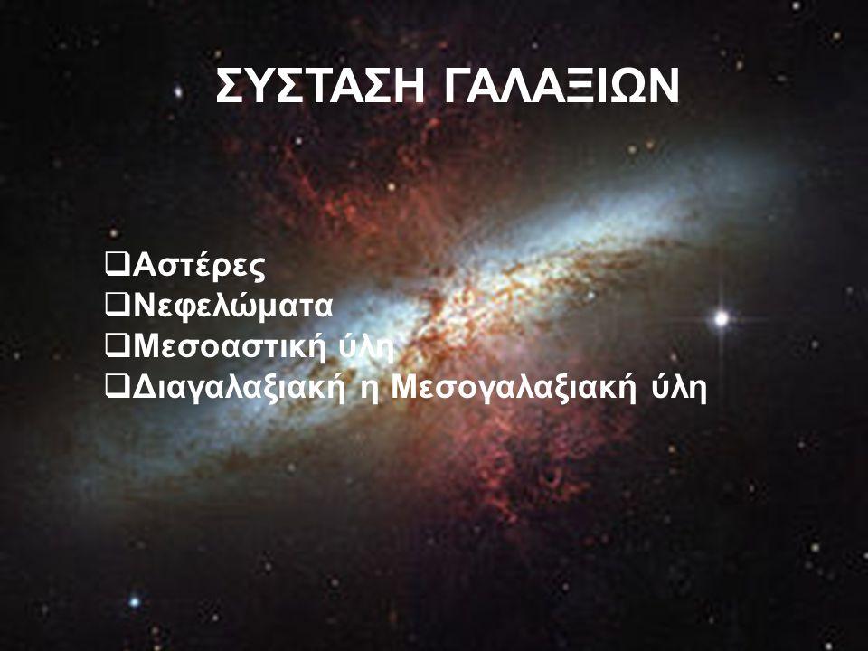 ΣΥΣΤΑΣΗ ΓΑΛΑΞΙΩΝ  Αστέρες  Νεφελώματα  Μεσοαστική ύλη  Διαγαλαξιακή η Μεσογαλαξιακή ύλη
