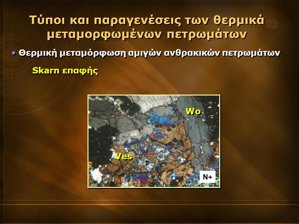 Θερμική μεταμόρφωση αμιγών ανθρακικών πετρωμάτων Τύποι και παραγενέσεις των θερμικά μεταμορφωμένων πετρωμάτων Skarn επαφής Wo Ves Ν+