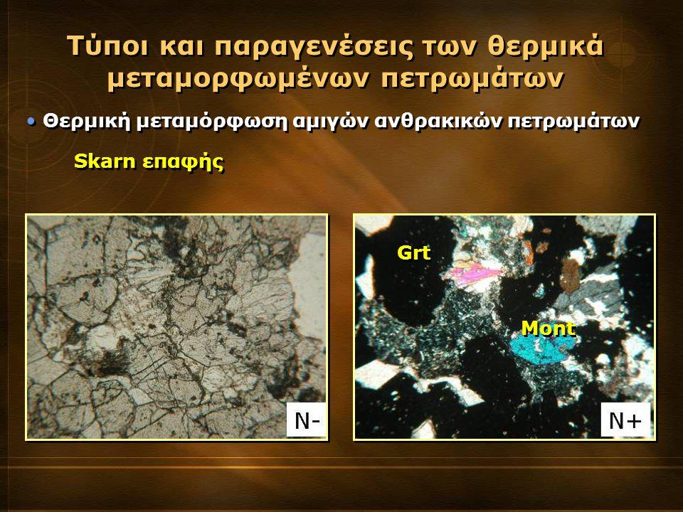 Θερμική μεταμόρφωση αμιγών ανθρακικών πετρωμάτων Τύποι και παραγενέσεις των θερμικά μεταμορφωμένων πετρωμάτων Skarn επαφής Grt Mont