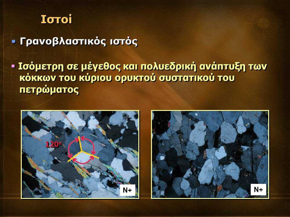  Ισόμετρη σε μέγεθος και πολυεδρική ανάπτυξη των κόκκων του κύριου ορυκτού συστατικού του πετρώματος  Ισόμετρη σε μέγεθος και πολυεδρική ανάπτυξη των κόκκων του κύριου ορυκτού συστατικού του πετρώματος Ιστοί Γρανοβλαστικός ιστός 120 o Ν+
