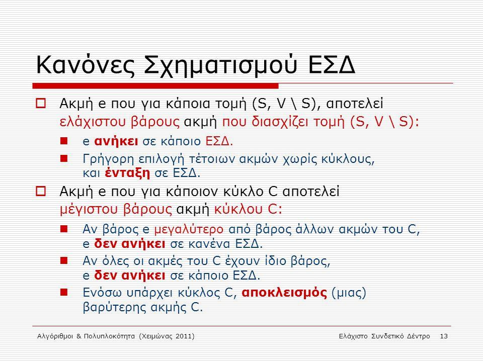 Αλγόριθμοι & Πολυπλοκότητα (Χειμώνας 2011)Ελάχιστο Συνδετικό Δέντρο 13 Κανόνες Σχηματισμού ΕΣΔ  Ακμή e που για κάποια τομή (S, V \ S), αποτελεί ελάχι