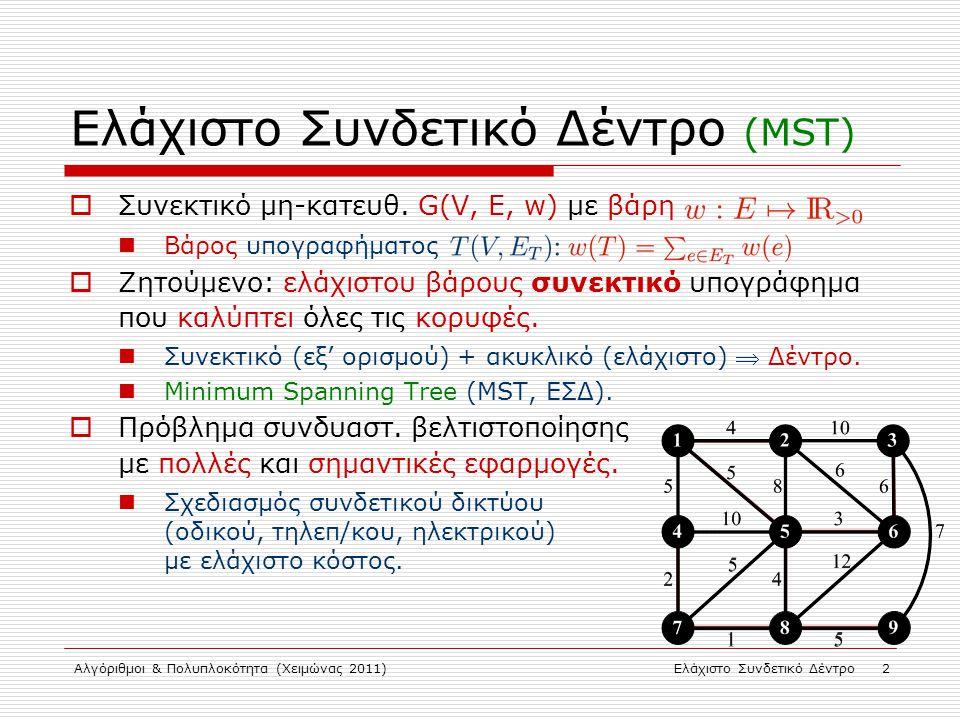 Αλγόριθμοι & Πολυπλοκότητα (Χειμώνας 2011)Ελάχιστο Συνδετικό Δέντρο 2 Ελάχιστο Συνδετικό Δέντρο (MST)  Συνεκτικό μη-κατευθ. G(V, E, w) με βάρη Βάρος