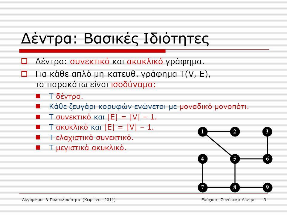 Αλγόριθμοι & Πολυπλοκότητα (Χειμώνας 2011)Ελάχιστο Συνδετικό Δέντρο 3 Δέντρα: Βασικές Ιδιότητες  Δέντρο: συνεκτικό και ακυκλικό γράφημα.  Για κάθε α