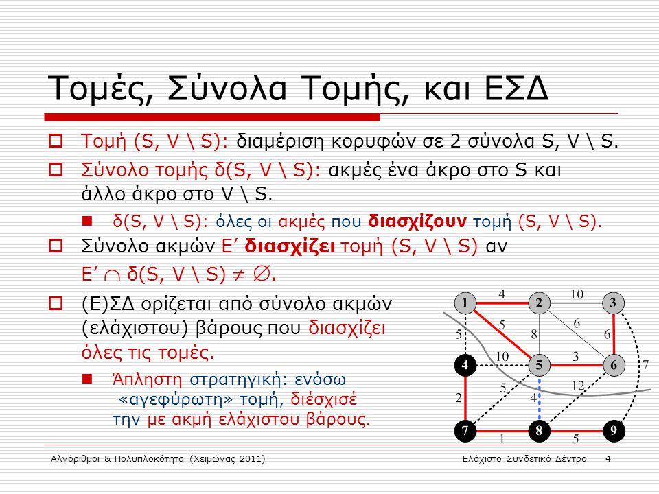 Αλγόριθμοι & Πολυπλοκότητα (Χειμώνας 2011)Ελάχιστο Συνδετικό Δέντρο 5 (Άπληστος) Υπολογισμός ΕΣΔ  Έστω Τ(V, E Τ ) ΕΣΔ για G(V, E, w).