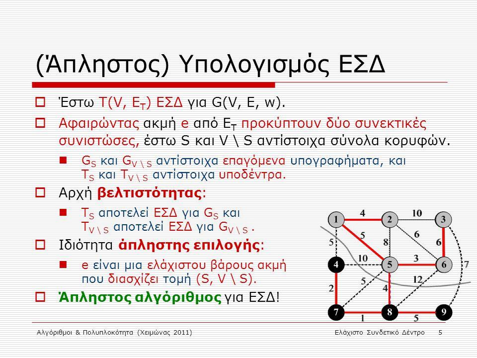 Αλγόριθμοι & Πολυπλοκότητα (Χειμώνας 2011)Ελάχιστο Συνδετικό Δέντρο 5 (Άπληστος) Υπολογισμός ΕΣΔ  Έστω Τ(V, E Τ ) ΕΣΔ για G(V, E, w).  Αφαιρώντας ακ