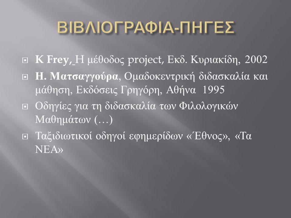  K Frey, H μέθοδος project, Εκδ. Κυριακίδη, 2002  Η. Ματσαγγούρα, Ομαδοκεντρική διδασκαλία και μάθηση, Εκδόσεις Γρηγόρη, Αθήνα 1995  Οδηγίες για τη