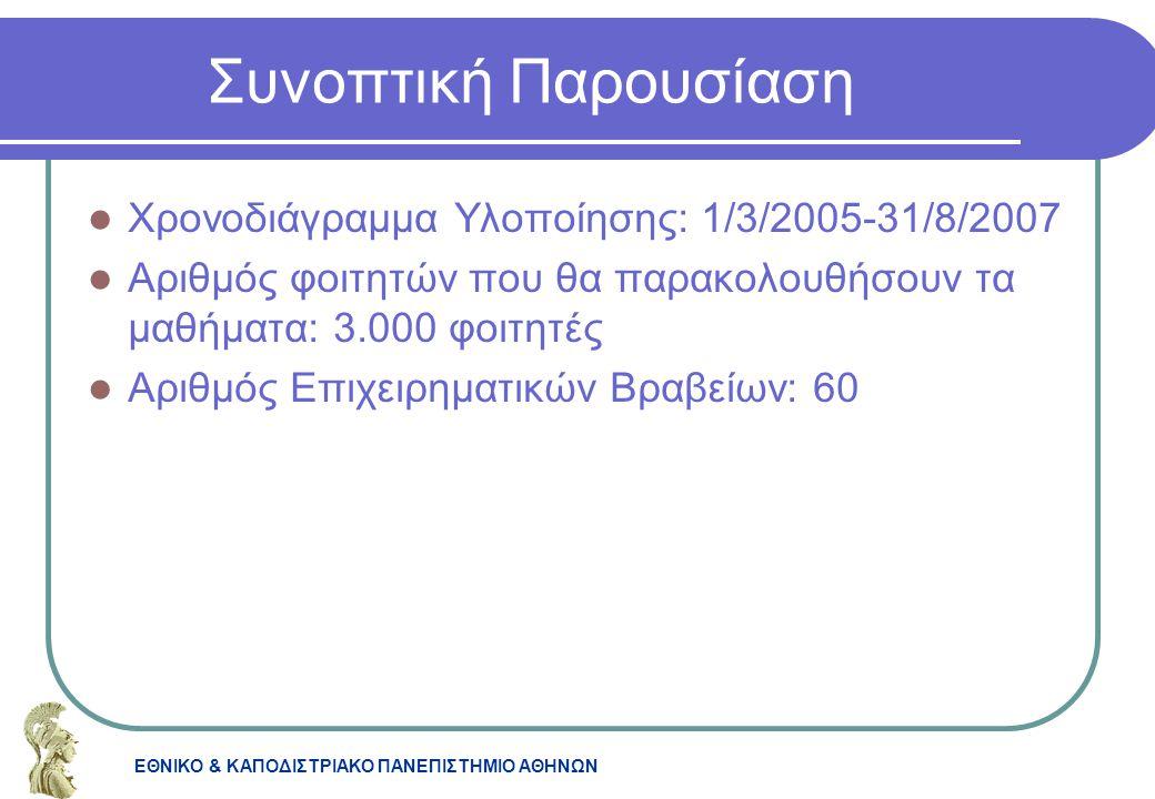 ΕΘΝΙΚΟ & ΚΑΠΟΔΙΣΤΡΙΑΚΟ ΠΑΝΕΠΙΣΤΗΜΙΟ ΑΘΗΝΩΝ Συνοπτική Παρουσίαση Χρονοδιάγραμμα Υλοποίησης: 1/3/2005-31/8/2007 Αριθμός φοιτητών που θα παρακολουθήσουν