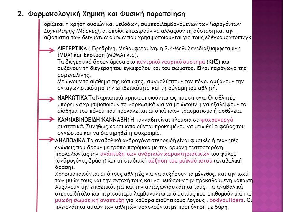 2.Φαρμακολογική Χημική και Φυσική παραποίηση ορίζεται η χρήση ουσιών και μεθόδων, συμπεριλαμβανομένων των Παραγόντων Συγκάλυψης (Μάσκες), οι οποίοι επιχειρούν να αλλάξουν τη σύσταση και την αξιοπιστία των δειγμάτων ούρων που χρησιμοποιούνται για τους ελέγχους ντόπινγκ ΔΙΕΓΕΡΤΙΚΑ ( Εφεδρίνη, Μεθαμφεταμίνη, η 3,4-Μεθυλενεδιοξυαμφεταμίνη (MDA) και Έκσταση (MDMA) κ.α).