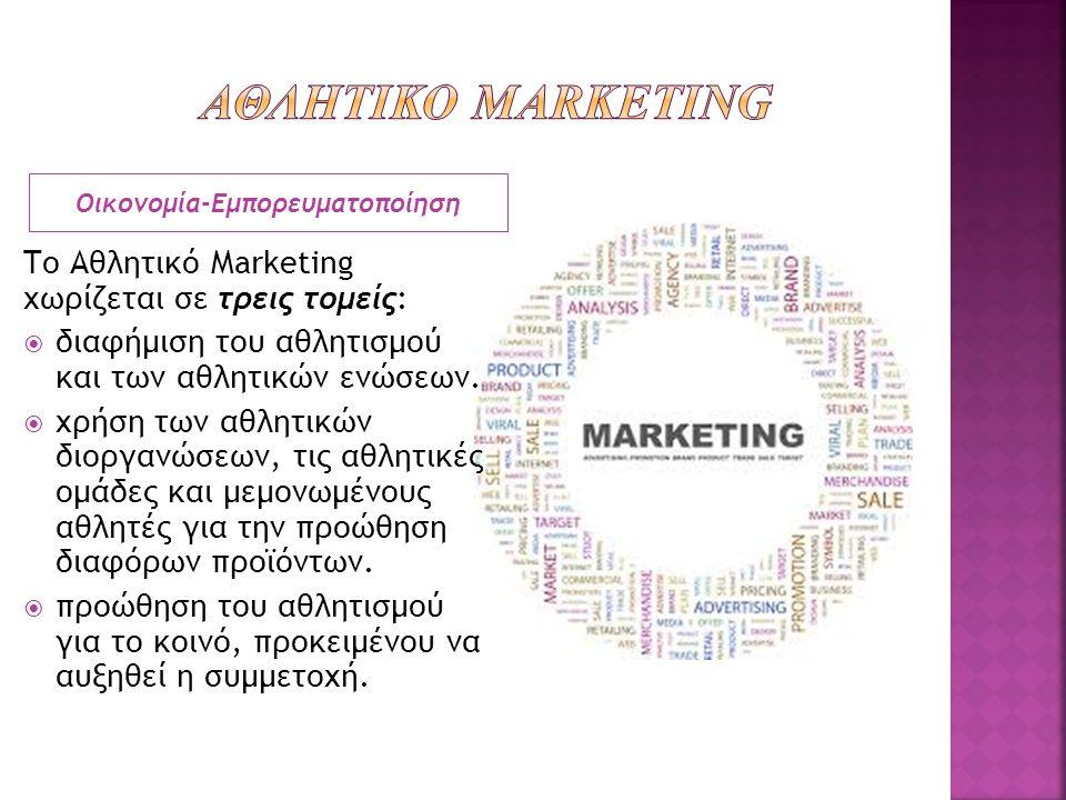 Το Αθλητικό Marketing χωρίζεται σε τρεις τομείς:  διαφήμιση του αθλητισμού και των αθλητικών ενώσεων.