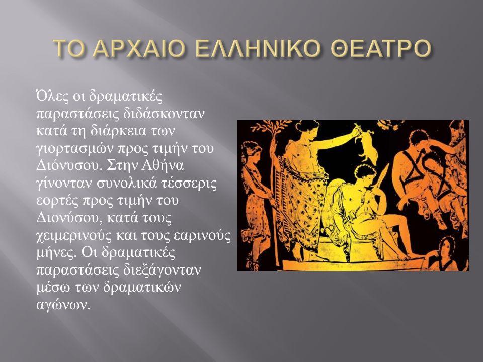 Όλες οι δραματικές παραστάσεις διδάσκονταν κατά τη διάρκεια των γιορτασμών προς τιμήν του Διόνυσου. Στην Αθήνα γίνονταν συνολικά τέσσερις εορτές προς