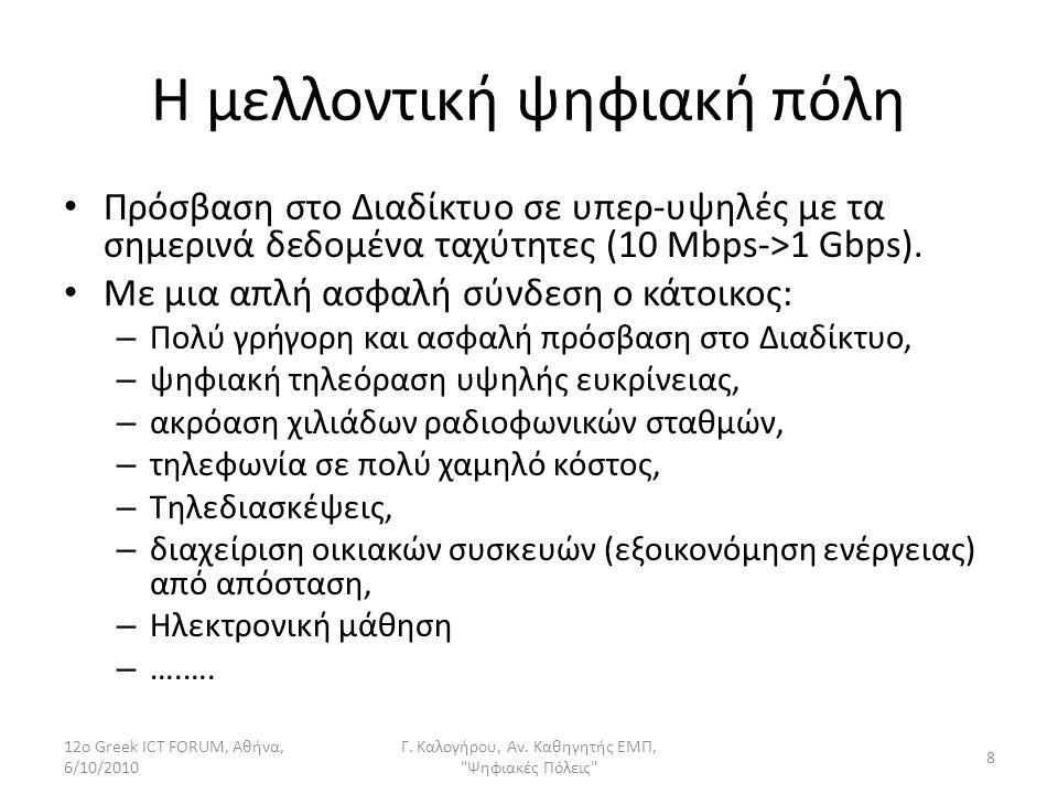 Η μελλοντική ψηφιακή πόλη Πρόσβαση στο Διαδίκτυο σε υπερ-υψηλές με τα σημερινά δεδομένα ταχύτητες (10 Mbps->1 Gbps). Με μια απλή ασφαλή σύνδεση ο κάτο