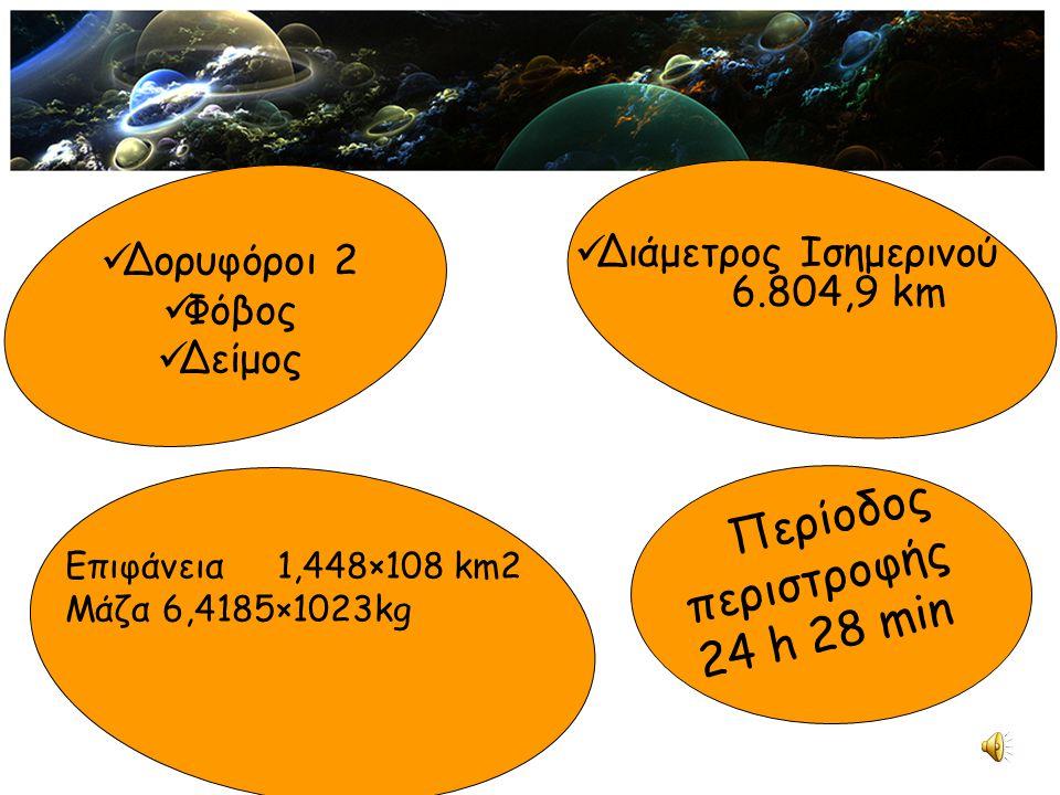 Δορυφόροι 2 Φόβος Δείμος Διάμετρος Ισημερινού 6.804,9 km Επιφάνεια1,448×108 km2 Μάζα 6,4185×1023kg Περίοδος περιστροφής 24 h 28 min